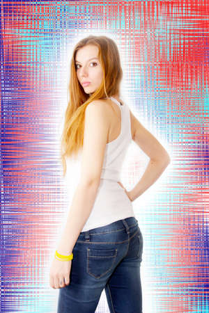 abstract scene portrait beautiful redheaded girl Stock Photo - 16889722