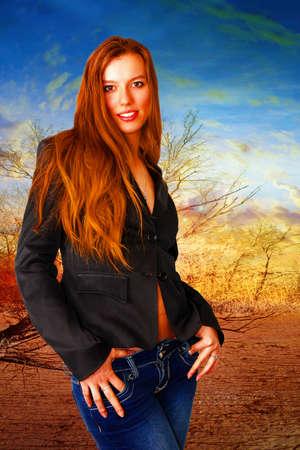 portrait cheerful girl on fantasy background Stock Photo - 17185453