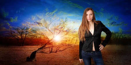 abstract portrait cheerful girl on fantasy background photo
