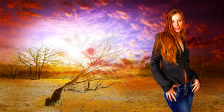 abstract portrait cheerful girl on fantasy background Stock Photo - 16889721