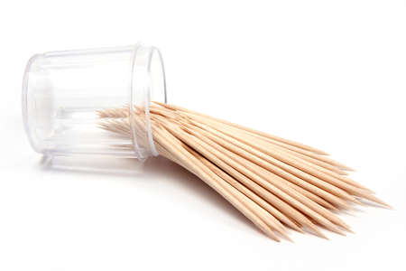 toothpick: small quantity tree toothpick in plastic packing Stock Photo