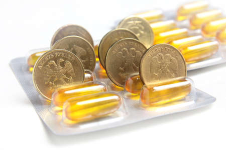medicinal facility and ten roubles coin as symbol pay medicine Stock Photo - 17250739