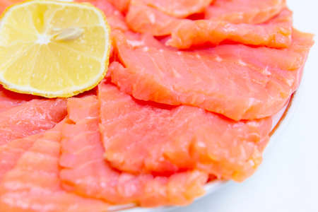 bit red fish salmon with lemon as delicacy meal Stock Photo - 17744971