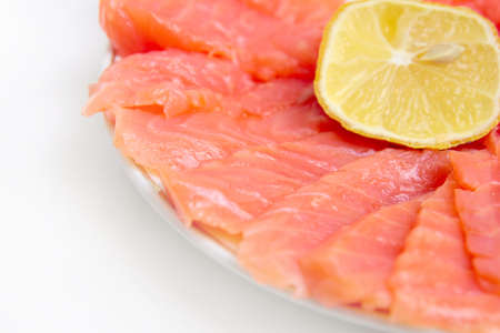 bit red fish salmon with lemon as delicacy meal Stock Photo - 17744945