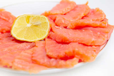 bit red fish salmon with lemon as delicacy meal Stock Photo - 17744954