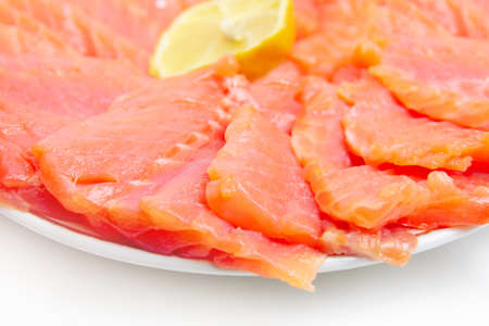 bit red fish salmon with lemon as delicacy meal Stock Photo - 17744972