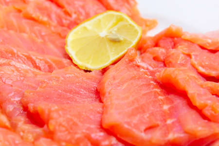 bit red fish salmon with lemon as delicacy meal Stock Photo - 17744980