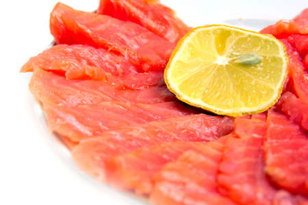 bit red fish salmon with lemon as delicacy meal Stock Photo - 17744977
