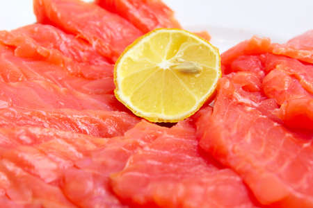 bit red fish salmon with lemon as delicacy meal Stock Photo - 17744983