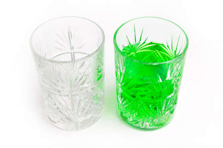 cooled: abstract scene with two glass cup and cooled drink