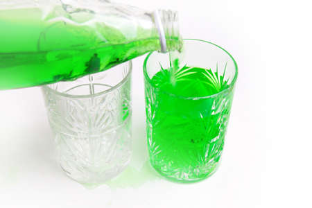 refrigerate: abstract scene with two glass cup and cooled drink