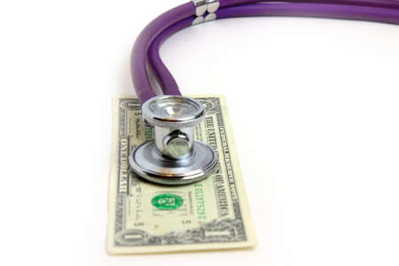 doctor with dollars: scene stethoscope doctor and dollars as illustration pay medicine