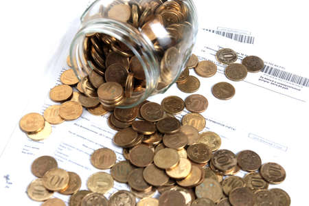 deposit slip: russian roubles in glass bank as element accumulation
