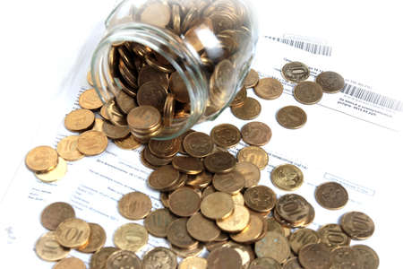 russian roubles in glass bank as element accumulation