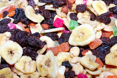 mixture dried fruits as element profit health meal photo