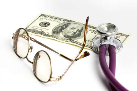 doctor with dollars: stethoscope doctor and dollars as illustration pay medicine