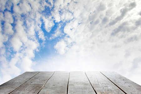 pannel: wooden podium on background beautiful celestial landscape