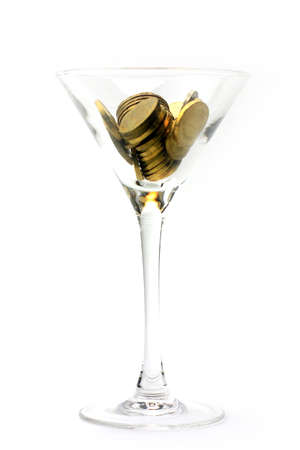 metallic coin and wineglass as an abstract pay system image photo