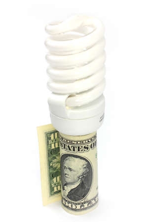 saving energy lamp and paper bill dollar photo