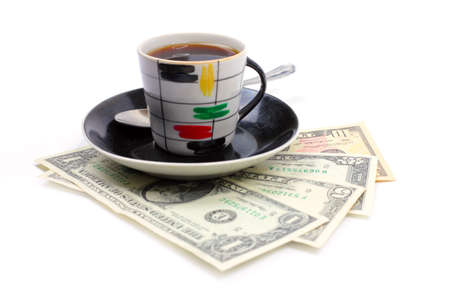 strong black coffee and paper money dollars Standard-Bild