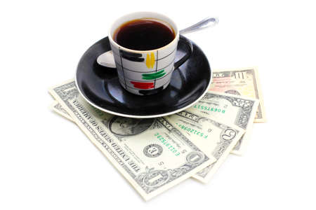 strong black coffee and paper money dollars photo