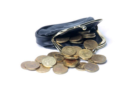 metallic rouble and black leather purse photo