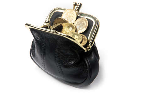 Metallic rubles and black leather purse photo
