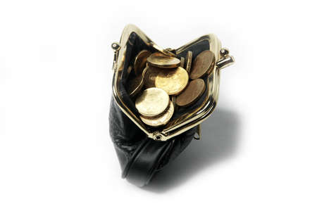reversing: Metallic rouble and black leather purse