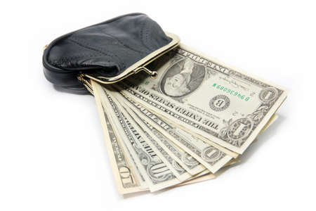 Cash Flow: shallow paper dollars are in a black purse