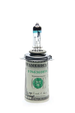 lamp car and certain amount of the small paper dollars photo