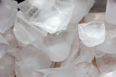 prepared pieces ice from the frozen clean water photo
