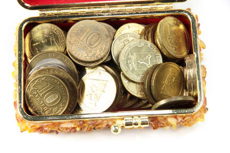 heap of metal ruble lie in the box to save photo