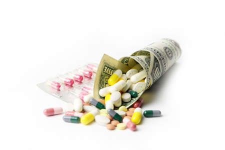 small heap of paper dollars fine and medicines Standard-Bild