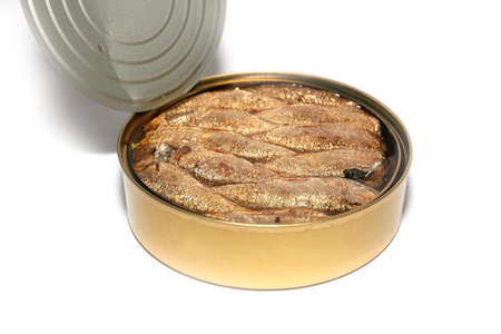 sprats: opened steel tank with fresh canned sprats