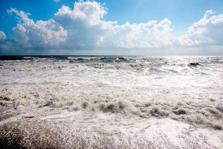 High wave in time gale on a sea and blue sky Stock Photo