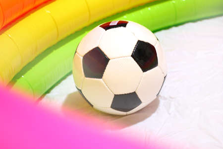 leather ball: black and white leather ball to a team game football