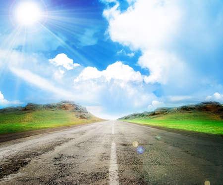 夏天和路作为旅行背景