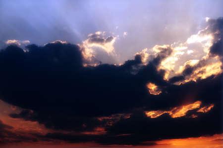 skyscape: Beautiful dark blue sunny sky as skyscape