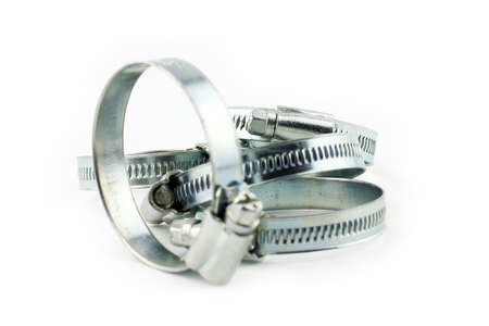 hydraulic hoses: metal clamp with a threaded connection for pipes Stock Photo