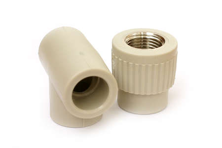heat sink: connecting plastic coupling for plumbing pipe Stock Photo