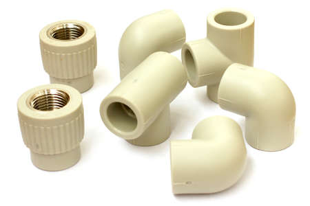 plastic pipe: connecting plastic coupling for plumbing pipe Stock Photo
