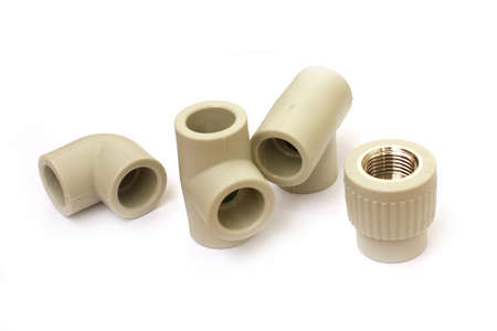 coupling: connecting plastic coupling for plumbing pipe Stock Photo
