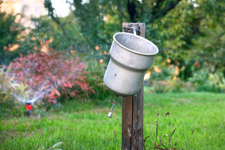 after work: Old garden washbasin to wash your hands after work