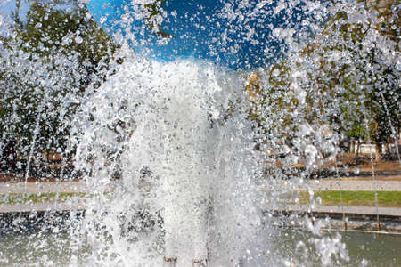 water flowing: the feed water nozzle of the fountain Stock Photo