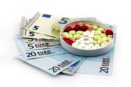 paid medicine: euro paper money and pills as a paid medicine