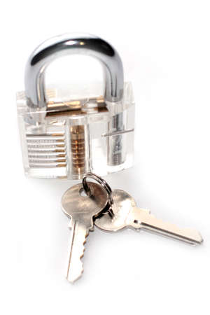 ownership and control: padlock in a transparent body and keys