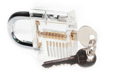 transparent body: padlock in a transparent body and keys