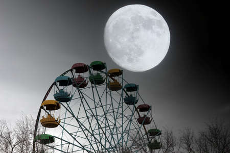 moon  metropolis: Ferris wheel and moon in the town park