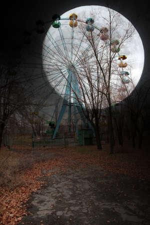 moon  metropolis: Ferris wheel and moon in the town park