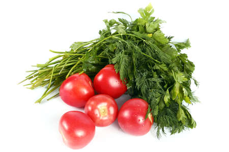 Fresh ripe tomatoes and parsley healthy food as part Stock Photo